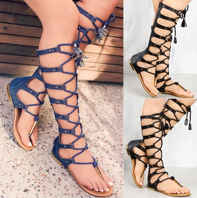 Summer Sandals Flat Women Shoes Zipper Knee High Jean Gladiator Sandals