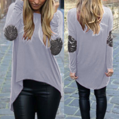 Women Loose Long Sleeve Blouses Shirts Glitter Patchwork Casual Blouse Pullover Plus Size Tops