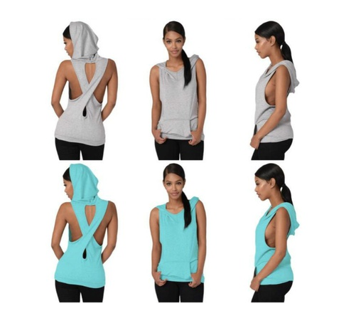 Summer Solid Pocket Shirt Women Sleeveless Hooded Slim Hoodies Tank Tops Pullover Pocket Short Soft Backless Cross Shirts