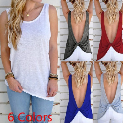 Fashion Women Sexy Backless Tank top Sleeveless casual Tshirt Blouses