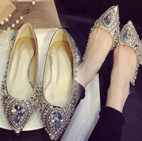 28960312ad9 Fashion Crystal Rivet Leather Silver Flat Women Pointed Ladies Flats Shoes