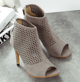 Gladiator Sandals Sexy Women Ankle Boots Peep Toe High Heels Casual Cut-Out Shoes