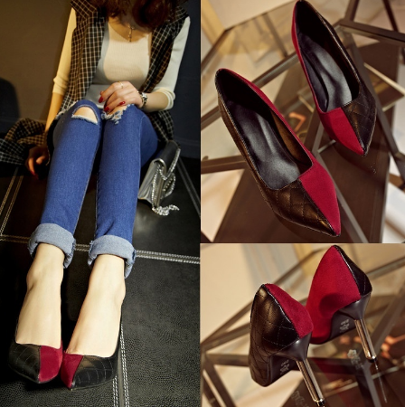 Split Style Pointed Toe High Heel Pumps