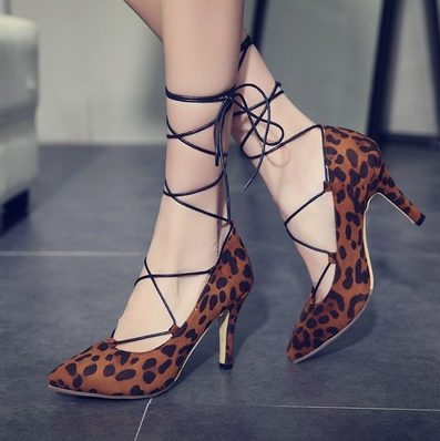 Women Laced Up Leopard Pumps