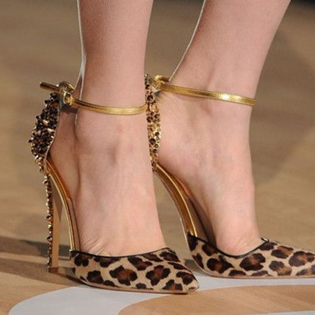 Spike Ankle Strap Leopard High Heel Shoes