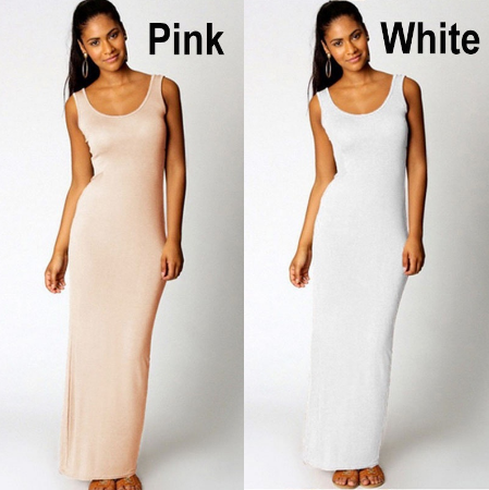 NEW ARRIVAL FASHION SEXY Cocktail Party Dress Sleeveless Bodycon Backless Long Dress Pure Color Sundress