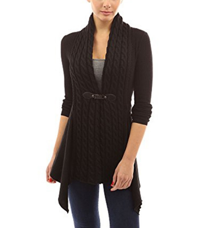 Women's Buckle Braid Front Cardigan