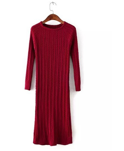 Back Slit Sweater Dress Solid Long Jumper  Sweater Dress