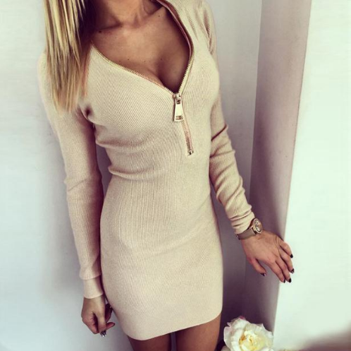 Women Dress Long Sleeve V-neck Dress Sexy Stretch Bodycon Dresses