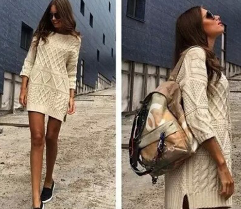 Women Vintage Twist Split Round Neck Half sleeve Sweater Dress Ladies Autumn Winter Cable Knitted Dress