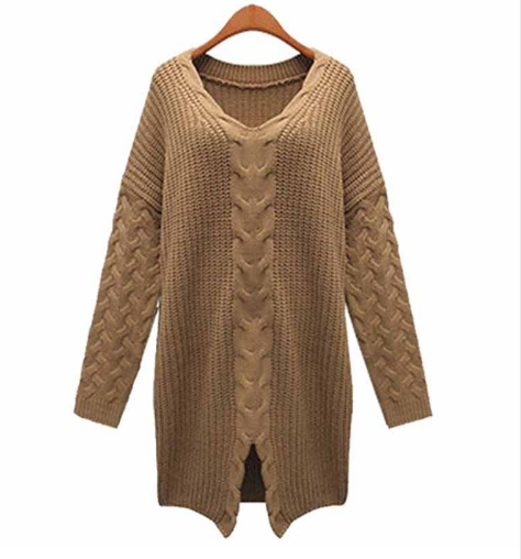 Fashion Women Oversized Loose Knitted Batwing Sweater