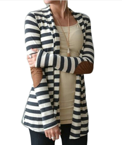 Black and White Striped Elbow Patching PU Leather Long Sleeve Knitted Cardigan
