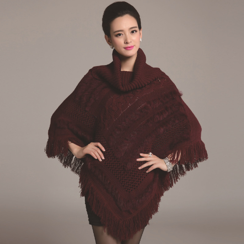 Winter Women Turtleneck Sweater Pullovers Tassels Knitting Poncho Cape Coat Female Fur Shawl
