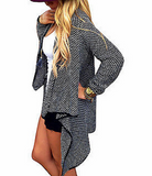 Casual Loose Knit Waterfall Cardigan Jacket Long Sleeve Irregular Sweater Coat