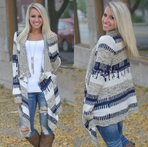 Cardigans Patchwork Long Cardigan