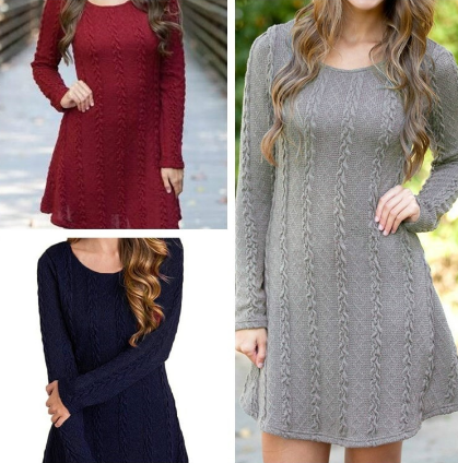 Winter Women  Knitted Sweaters Long Slim Sweater Dresses