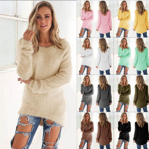 Women Autumn Winter Fleece Warm Sweaters Long Sleeve Solid Jumper Pullover Tops Bottoming Blouse Shirts