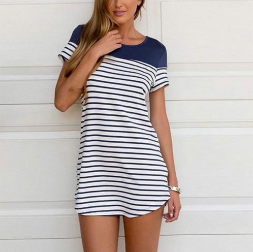 Summer Dress Women Ladies Short Sleeve O-neck Stripe Patchwork T shirt Dress Casual Mini Dress
