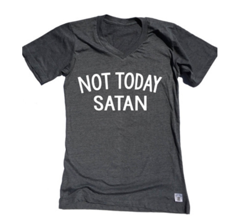 Summer Women Not Today Satan Letters Printing Short Sleeve Slim V Neck Casual LooseT-shirt Top