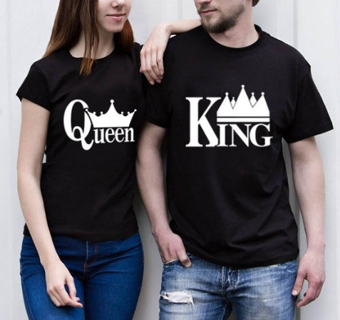 King and Queen Couple Short Sleeve Shirts Letter Printing Couple Tops Hip-hop Couple T-shirt
