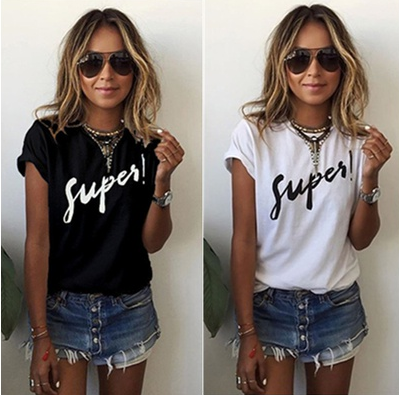 Oversize Women Letter Print T-Shirt Short Sleeve Casual Loose Blouse Tops