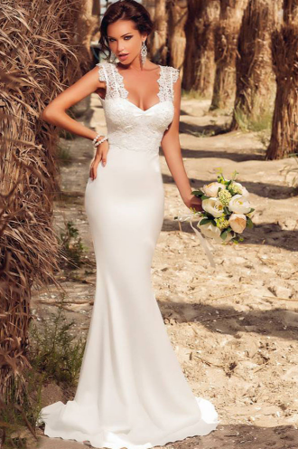 White Embroidered Lace Wedding Party Dress