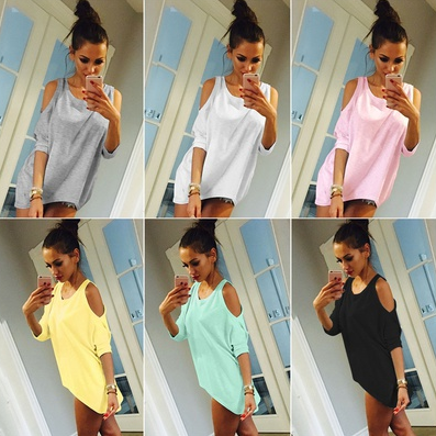 Sexy Womens Casual Loose T Shirt Lady Sexy Off Shoulder Tops Female Mini Short T-shirt Dress