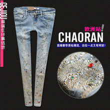 Female Diamond Hole Capris stretch Rivet Sequined Wash Vintage Women's Denim Jeans trousers pants for women feminino