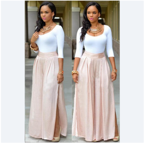 Casual Two-piece Suit Sleeve O-neck White T-shirt High Waist Loose Long Pants