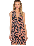 Newest Summer Loose Leopard Dress Plus Size Vestidos V-neck Sleeveless Women Shirt Dress