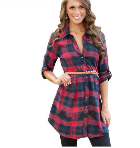 Brand New Hit Color Plaid tshirt Dress Vestidos Fashion Lapel Long Sleeve Women Mini Casual Dress
