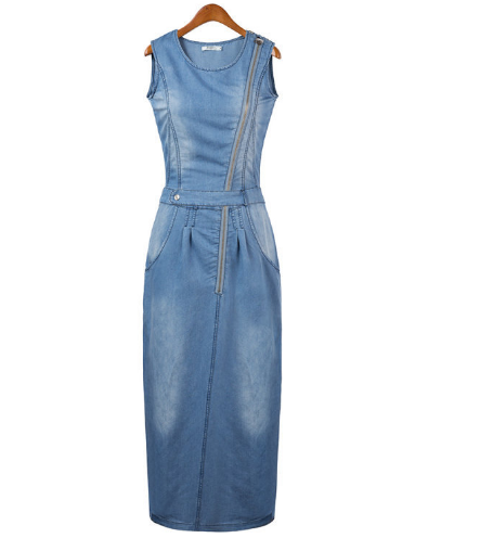 Women Fashion Denim Sleeveless Jean Dress