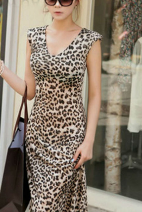 Women Sexy Leopard Dresses Elegant Classical Sleeveless Loose Casual Cotton Ankle-Length Dress