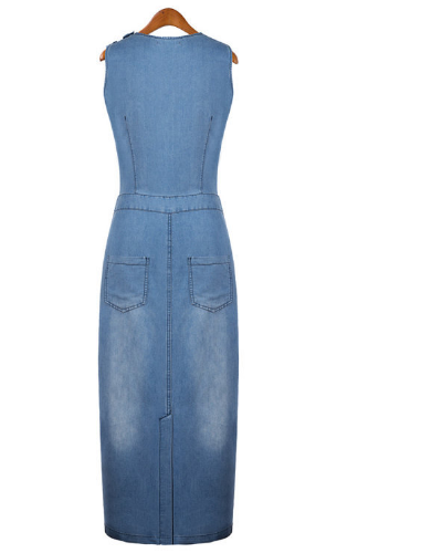 Women Fashion Denim Sleeveless Jean Dress-40%Off