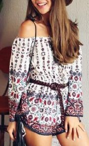 Off Shoulder Sexy Floral Romper