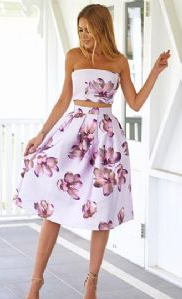 Strapless Sexy Floral Skater Dress