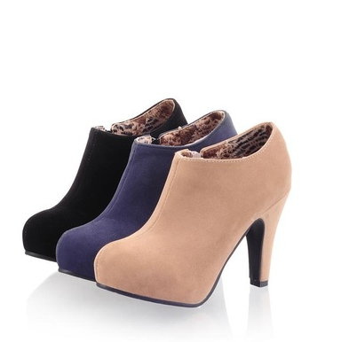 New Fashion Autumn Spring Women Ankle Boots Thin Heels Zip Black Apricot Blue Designer Shoes