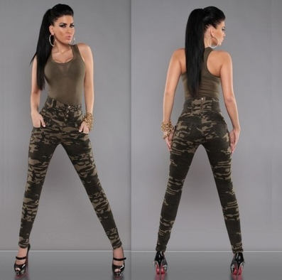 New fashion women Camouflage Pants High waist slim sexy Trousers