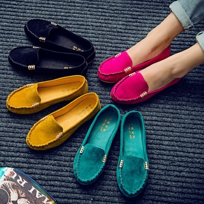 New Women's Ballet Flats Shoes Fashion Cute Slip On Low Heel Ladies Boat Shoes