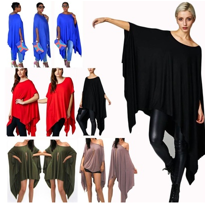Women Sexy Loose Free Flow Top Blouse Shirt Casual Poncho Tunic Party Mini Dress