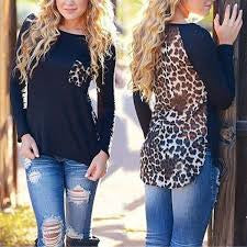 2016 Fashion New Leopard Chiffon Blouse for Women Lady Loose Long Sleeve Blouse Casual Tops Cheap vetement femme Z1