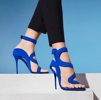 Footwear Blue Suede Sandals