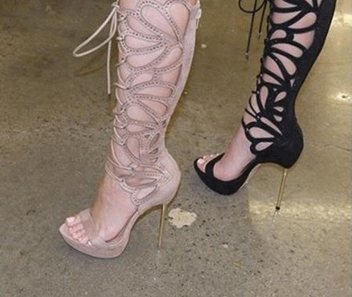 Sexy Butterfly Cut-Outs Lace-Up High Heel Sandals