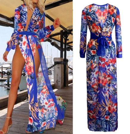 Sexy Women Split Club Dress Summer Boho Long Maxi Evening Party Dress Beach Dresses Chiffon Dress