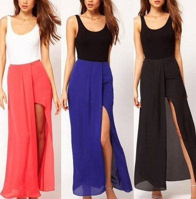 Sexy Women Open Side Split Skirts Summer Retro Solid irregular Chiffon bust Long Maxi Skirt