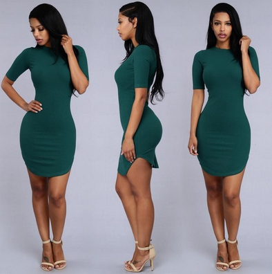 Women Sexy Tops Casual Summer Short Sleeve Solid Side Slit T Shirt Party Bodycon Mini Night Club Dresses