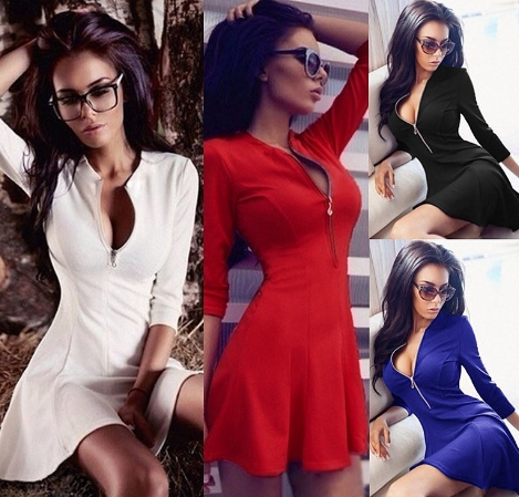 Women Long Sleeve Sexy Chest V-neck Zipper Slim Dress Pure Color