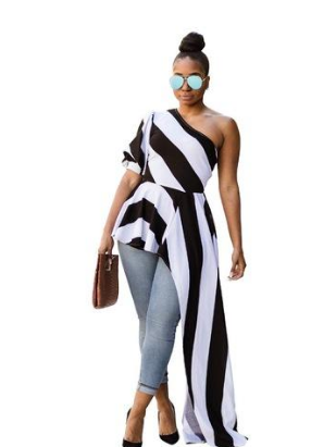 Women Dress Striped One Shoulder Half Sleeve Women Asymmetrical Maxi Dress Shirt