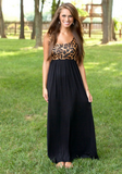 Women Scoop Neck Leopard Print High Waist Sexy Patchwork Pleated Maxi Dress