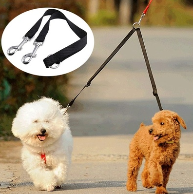 New Black Coupler Leash Lead Duplex 2 Way Multiple Dual Double Leash Dog Pet